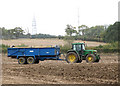 TG2605 : Potato harvest - empty trailer awaiting its turn by Evelyn Simak