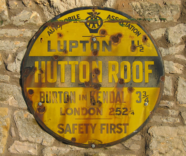 AA sign, Hutton Roof
