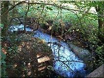 SH6179 : Afon Lleiniog upstream of the wooden bridge leading to Castell Aberlleiniog by Eric Jones