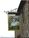 TQ3508 : Giant Swan sign at Falmer by Peter Whitcomb