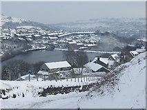 SE0714 : View of Slaithwaite reservoir & the village by Pamela Norrington