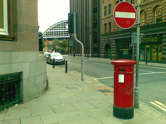 Red postbox, adjacent to The Midland Hotel