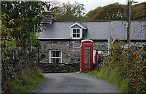 SH6028 : Phone box and post box at Pen-y-bont by Nigel Brown