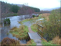 NM8363 : River Strontian in spate by Richard Laybourne