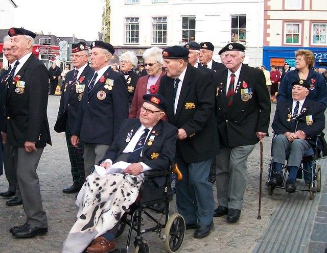 British Korean Veterans marching on Y Maes