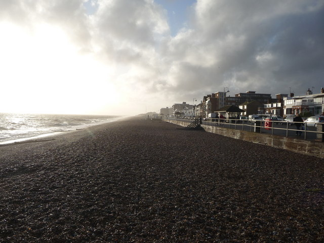 Looking west along Bexhill seafront shingle