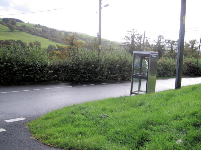 Road and phone box in Aberangell