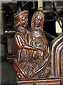 TF5914 : St Germans church - bench end by Evelyn Simak