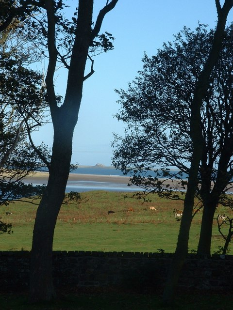 Lindisfarne Castle across Budle Bay and Ross Bank Sands