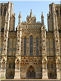 ST5545 : Wells: the centre of the cathedral's west front by Chris Downer