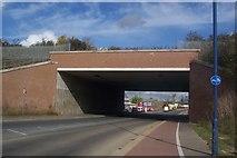 TQ6174 : Railway bridge over the A226 Thames Way by David Anstiss