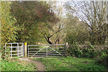 SP3365 : Gates into Leam Valley local nature reserve by Robin Stott