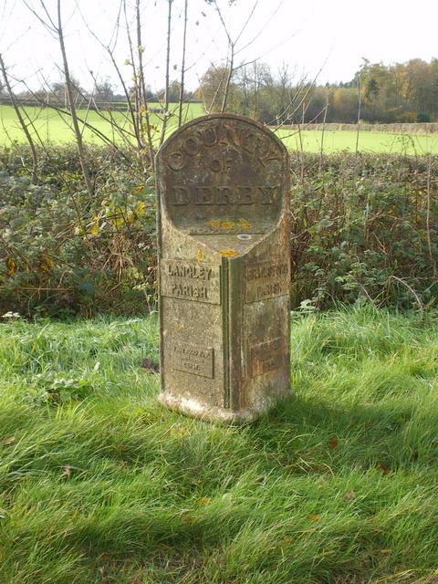 The Langley & Brailsford parish boundary marker - detail