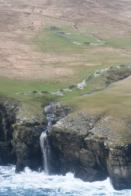 The Veng burn waterfall and old Veng croft