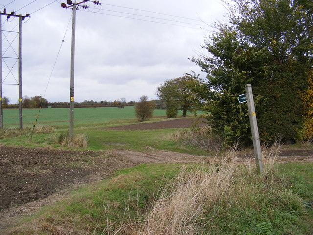 Footpath to Saxtead Bottom & Pepperwash  Lane