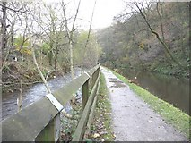 SD9625 : River Calder [left] and Rochdale Canal [right] by Christine Johnstone