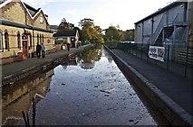SD3787 : Lakeside Railway Station, Autumn Floods 2008 by Paul Buckingham