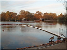 TQ2780 : Boat Houses by the Serpentine by Paul Gillett