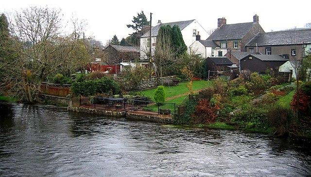 Back gardens adjacent to River Eamont