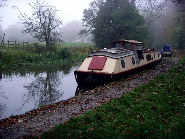Boats moored on the Trent & Mersey canal.