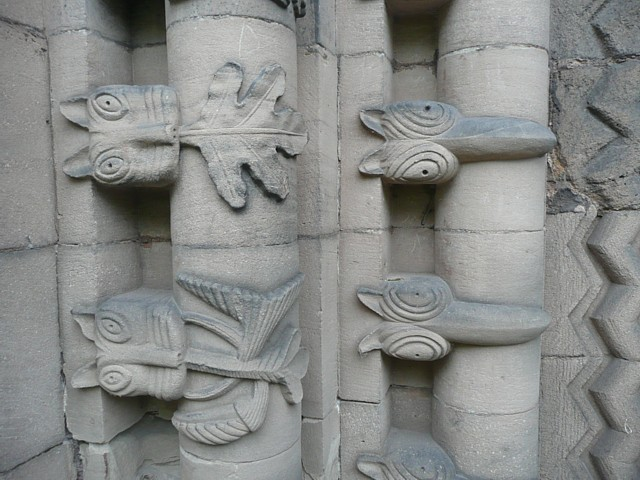 Detail of the western doorway of St Mary's Church, Tutbury