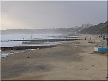 SZ1191 : Boscombe: storminess on the beach by Chris Downer