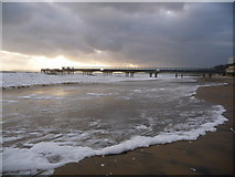 SZ1191 : Boscombe: foamy froth on the beach by Chris Downer