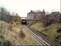 SJ9499 : Rails under Penny Meadow by Gerald England