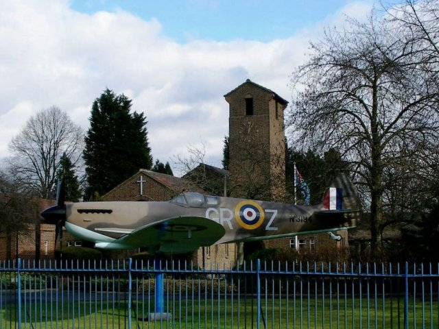 RAF church and mock-up fighter plane at Biggin Hill