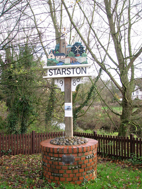 Starston village sign by the bridge over the Beck