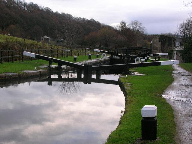 Lock on Rochdale Canal west of Mytholmroyd