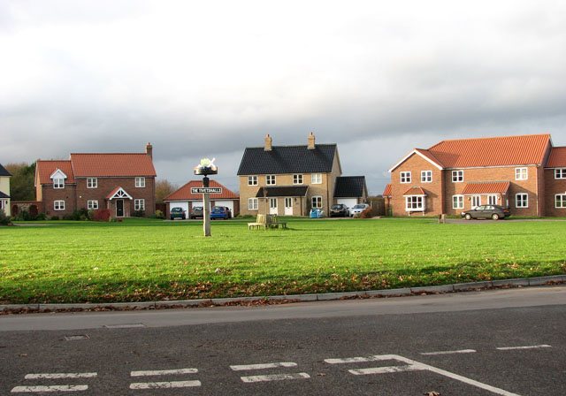 New houses by the village green