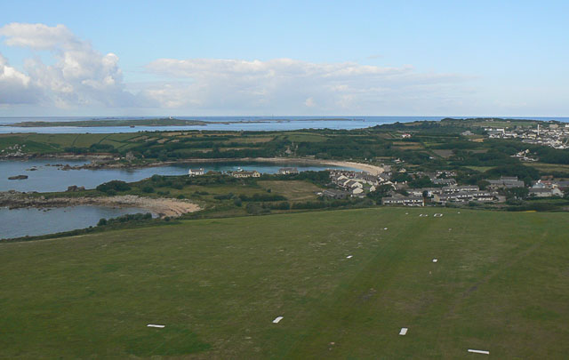 Old Town Bay and Peninnis Head from St Mary's Airport, Scilly