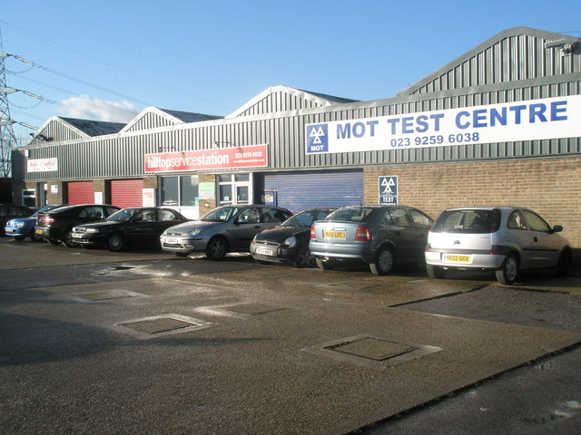 Cars waiting at the MOT test Centre in London Road