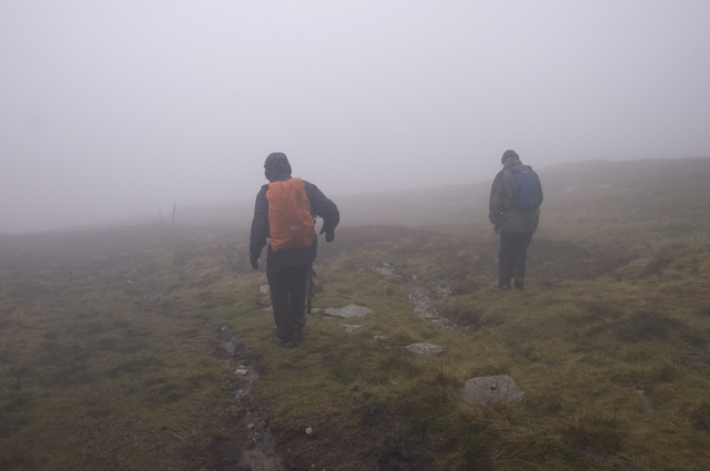 Descending to Black Brow in cloud