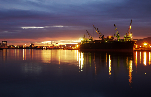 Dusk at Belfast docks