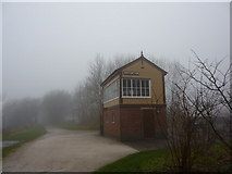 SK1461 : Foggy day at Hartington Station; signal box by Peter Barr