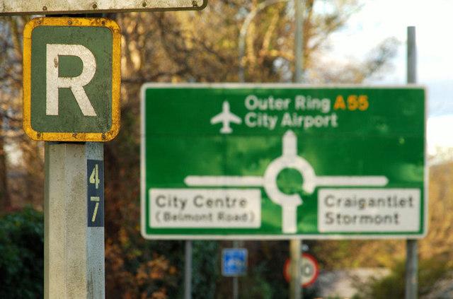 Ring road sign, Belfast © Albert Bridge :: Geograph Ireland