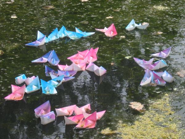 Pond art at Crook Hall