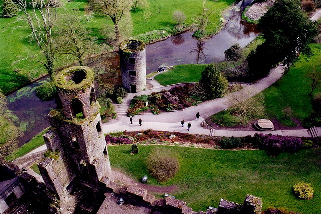 Blarney Castle east & northeast towers and stream