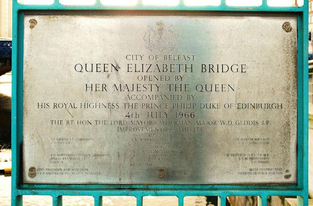 Plaque, Queen Elizabeth Bridge, Belfast