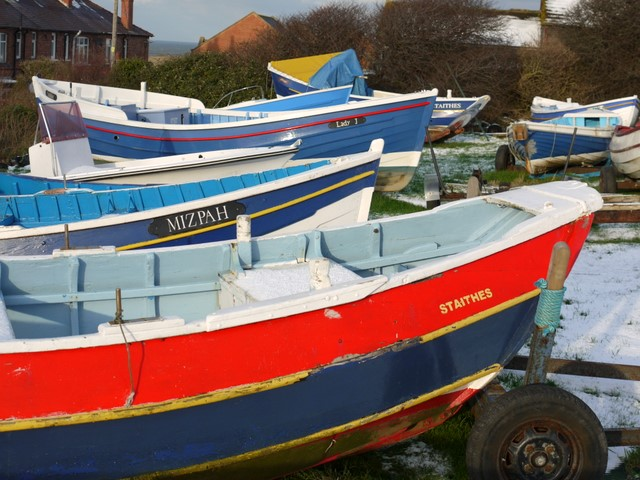Coble fishing boats in winter quarters, Staithes
