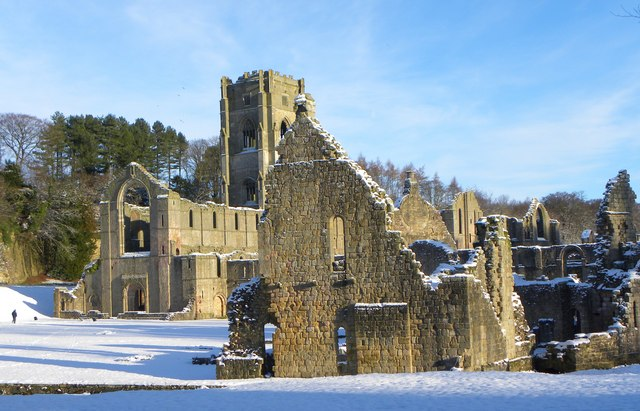 Fountains Abbey in the snow