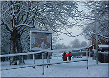 TM0855 : Snow scene with postmen by Andrew Hill