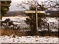 NZ0061 : Road sign at T Junction south of Riding Hills by Clive Nicholson
