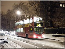 TQ2784 : 168 bus in the snow, Haverstock Hill NW3 by Robin Sones