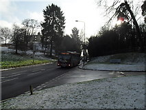 SU9948 : Bus heading down St Catherine's Hill by Basher Eyre