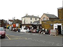 TR3752 : Charity shop back entrance, Middle Street car park by Rose and Trev Clough