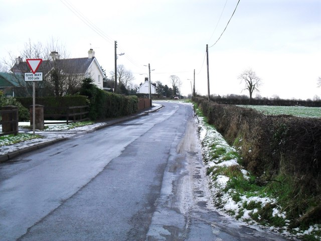 Approaching the main Glenavy Road at Ballynadolly