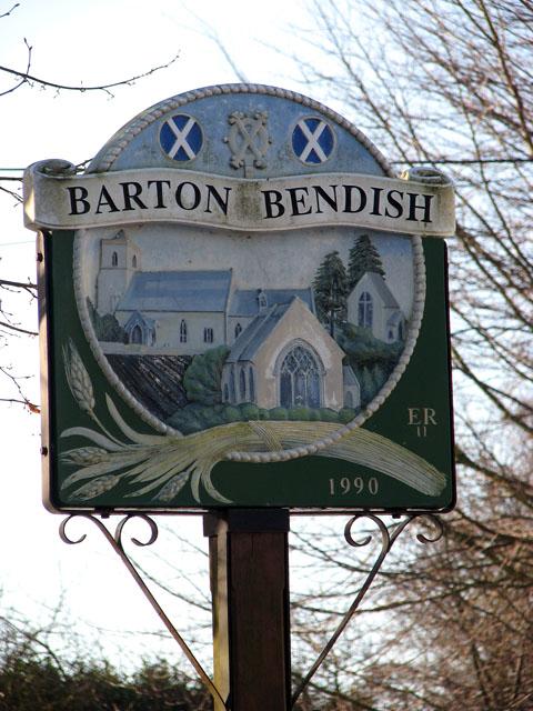 Barton Bendish village sign (close-up)
